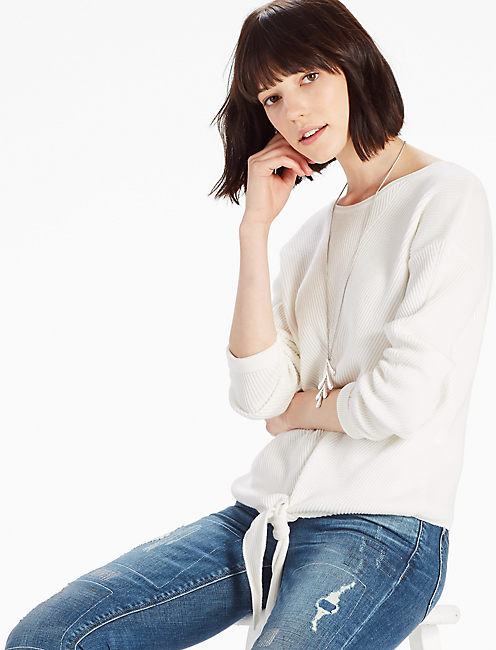 TIE FRONT SWEATER, SNOW WHITE