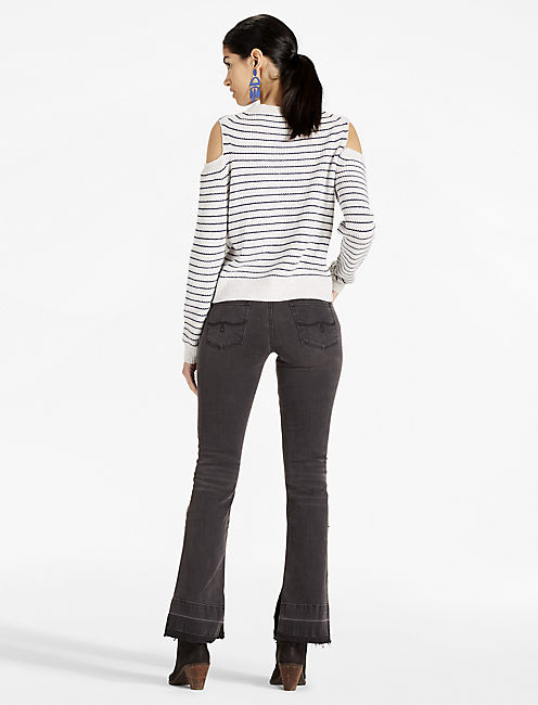 STRIPE COLD SHOULDER PULLOVER, NATURAL MULTI