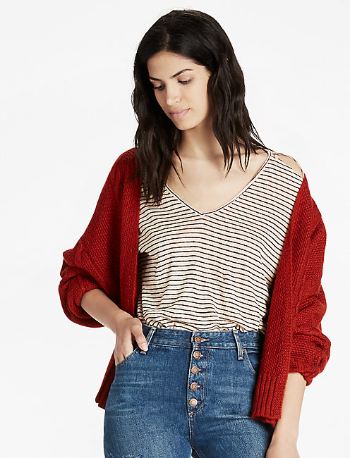 DOLMAN SLEEVE CARDIGAN, RUST