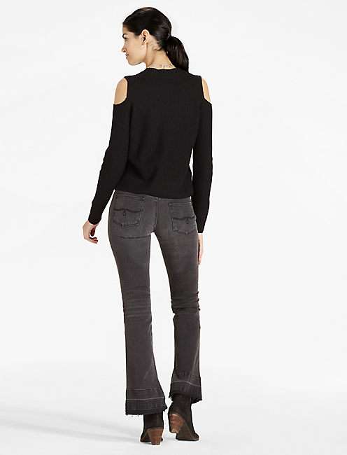 COLD SHOULDER PULLOVER, 001 LUCKY BLACK