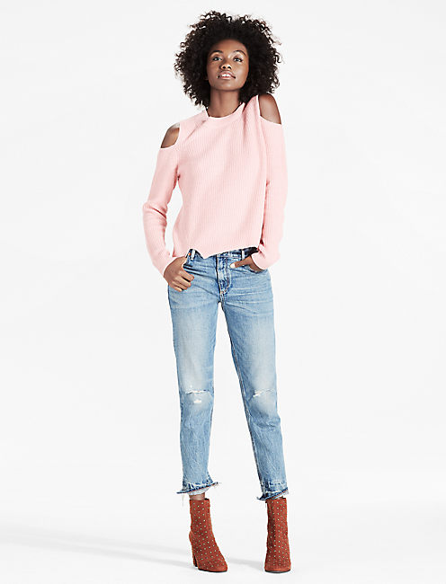 COLD SHOULDER PULLOVER, PINK