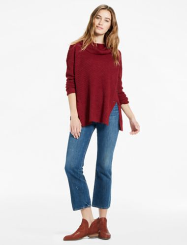 Lucky Alyssa Cowl Neck Side Button Sweater