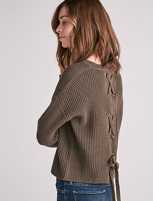 BACK LACE PULLOVER, OLIVE