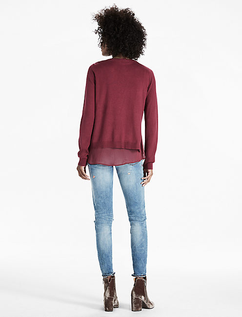 WOVEN MIX SWEATER, WINDSOR WINE