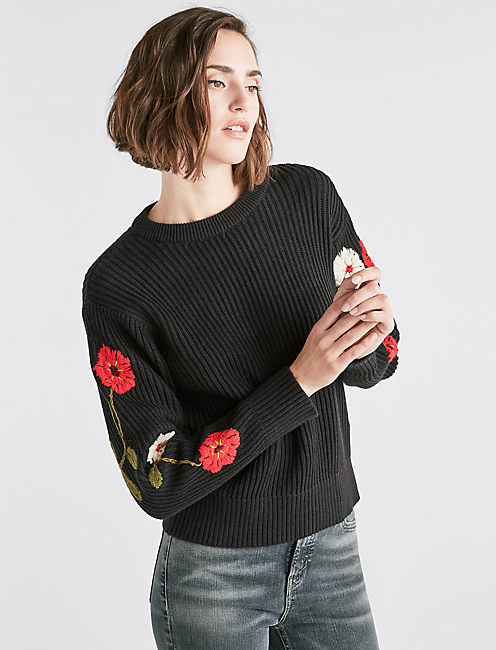 fcf16037c45 Floral Embroidered Sweater
