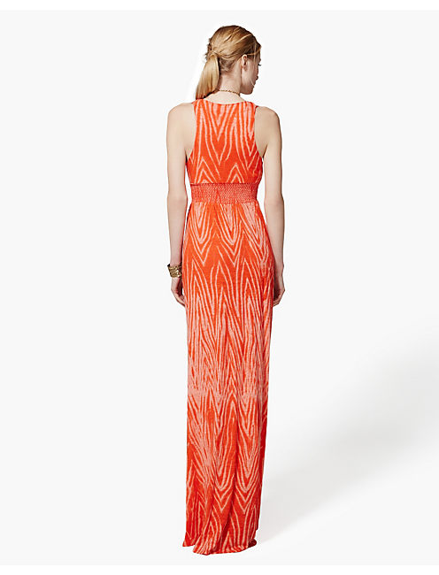 HALTER MAXI DRESS, ORANGE MULTI