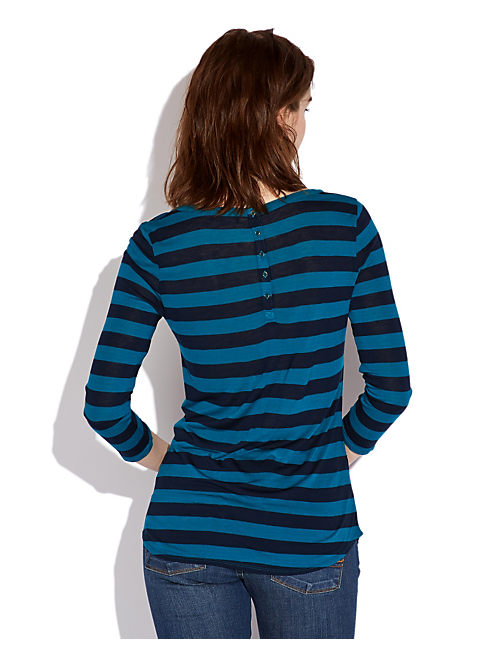 AVERY STRIPE PLACKET TOP, OCEAN/AMER NAVY STRIPE