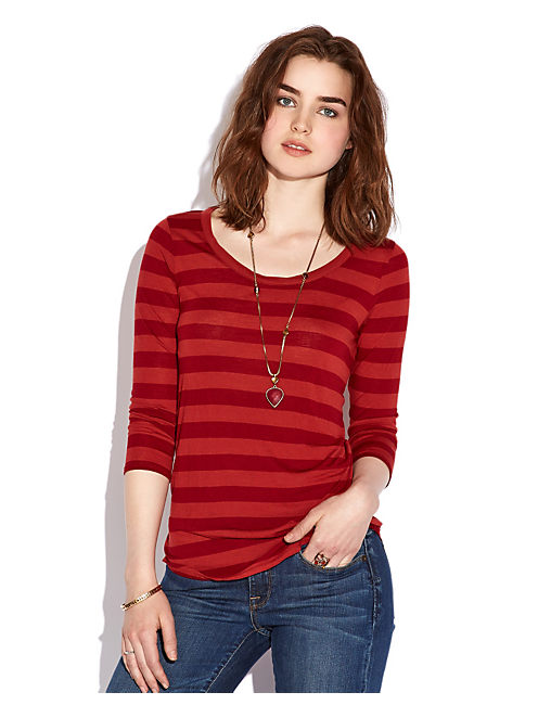 AVERY STRIPE PLACKET TOP, RUST/TIBETAN RED STRIPE