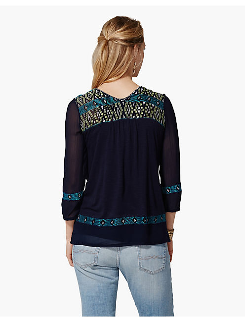 MAYBELLE EMBROIDERED TOP, AMERICAN NAVY