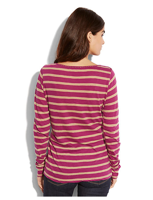 BOATNECK STRIPE TOP, PURPLE STRIPE