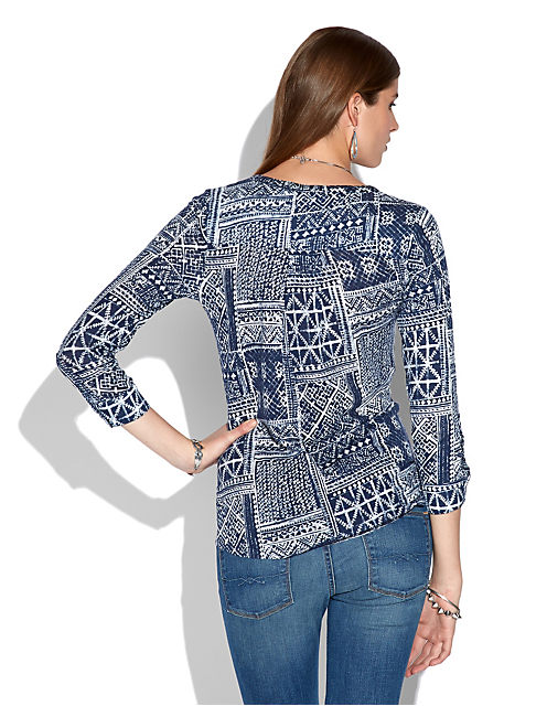 CIARA PATCHWORK TOP, BLUE MULTI