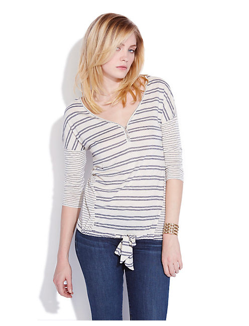 STRIPED TIE FRONT TOP, NAVY STRIPE