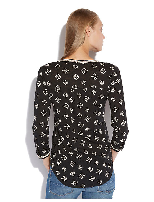 STAMPED DEL MAR HENLEY, BLACK MULTI