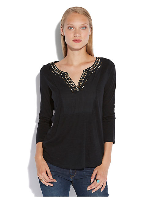 GENOA EMBELLISHED TOP, 001 LUCKY BLACK