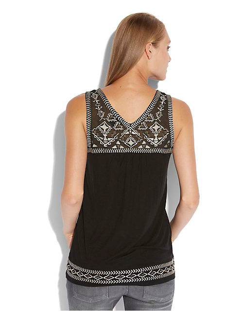BELLA EMBROIDERED TANK, 001 LUCKY BLACK