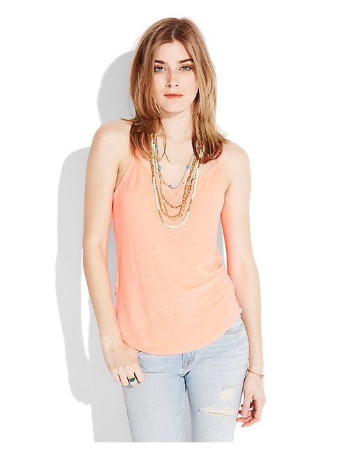 SLIT NECK TANK, NEON ORANGE