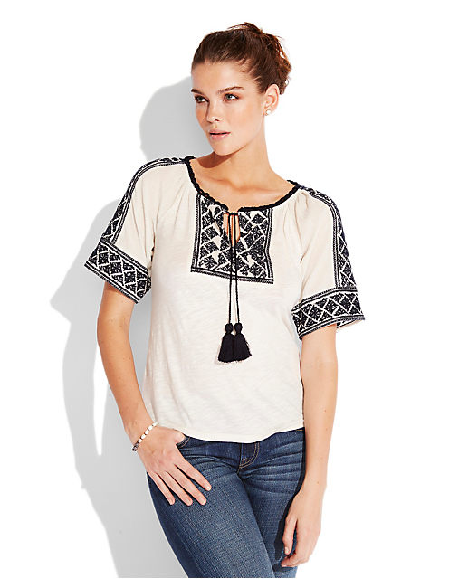 IPANEMA EMBROIDERED TOP, #2413 NIGORI