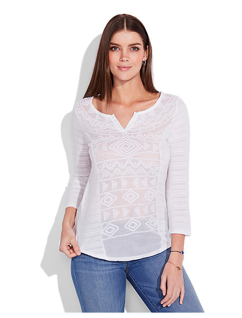 SAHARA EMBROIDERED TOP, LUCKY WHITE