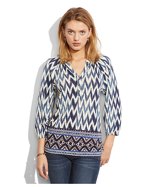 DIAMOND BORDER TOP, BLUE MULTI