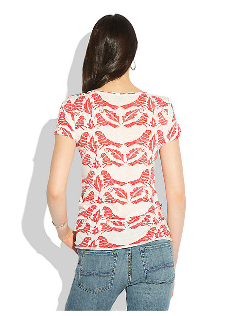 BIRD TIE FRONT TOP, RED MULTI