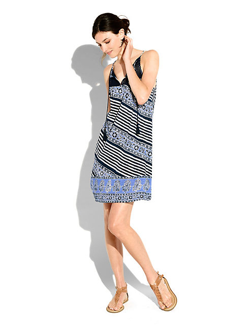 STRIPED CROCET DRESS, BLUE MULTI