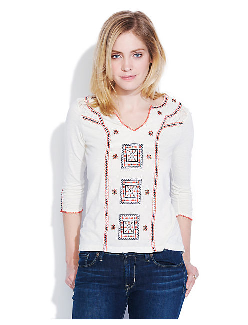 EMBROIDERED PEASANT TOP, #2413 NIGORI