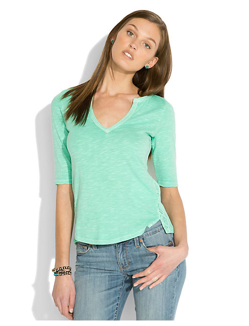 CALISTOGA CROCHET TOP, dusty jade green