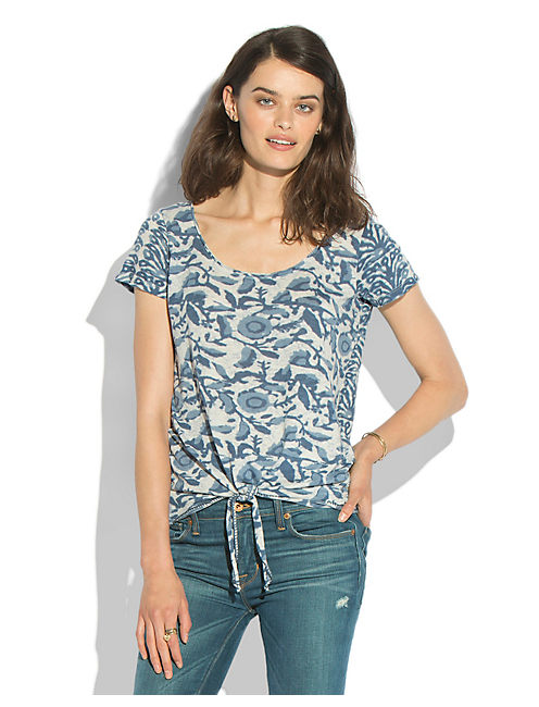 FLORAL TIE FRONT TOP, BLUE MULTI