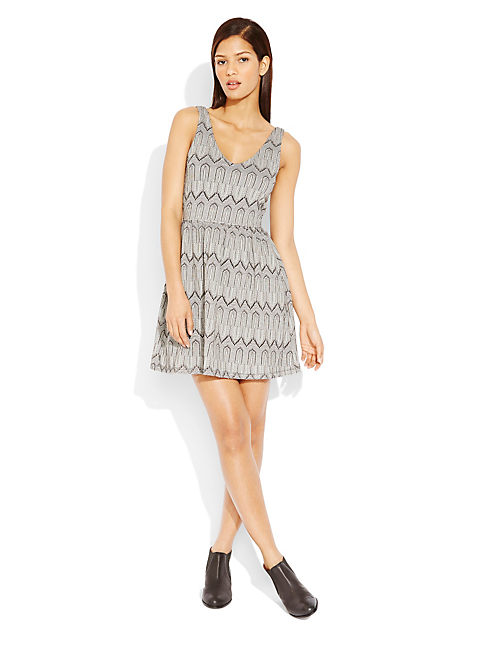 FIT & FLARE DRESS, BLACK/WHITE