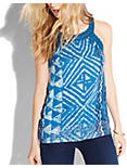 CROCHET TRIM TANK, BLUE MULTI
