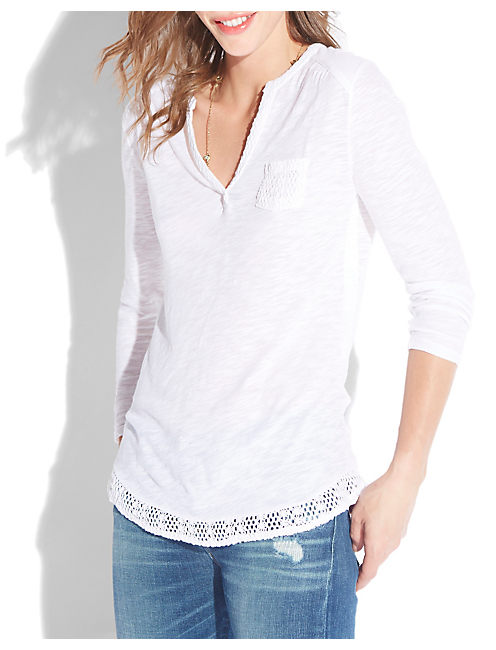 CROCHET MIXED TOP, LUCKY WHITE