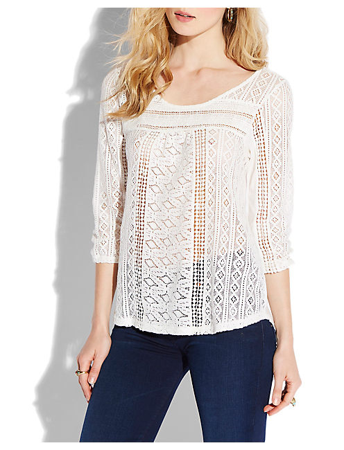 TANYA MIXED LACE TOP, #130 NATURAL