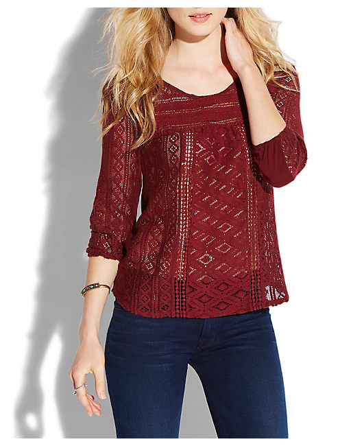 TANYA MIXED LACE TOP, #6725 FALL RED