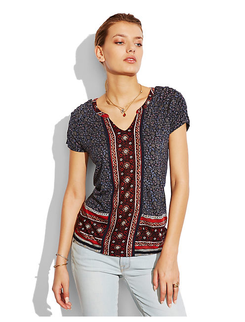 SCARF PRINT TOP, MULTI