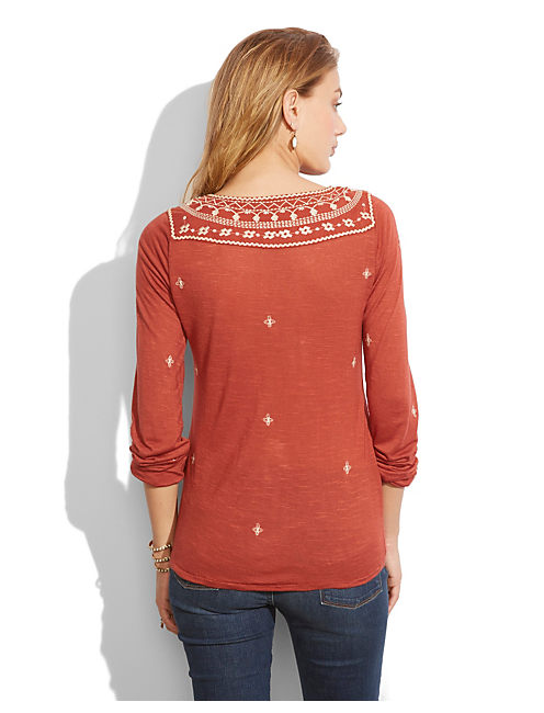 WINONA EMBROIDERED TOP, #6722 BURNT HENNA