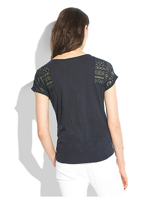 LACE PATCHWORK TOP, AMERICAN NAVY