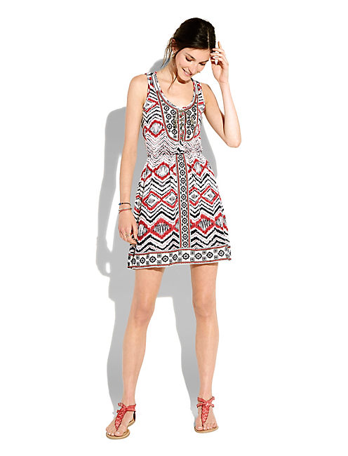 RED & WHITE LACE UP DRESS, BLUE MULTI