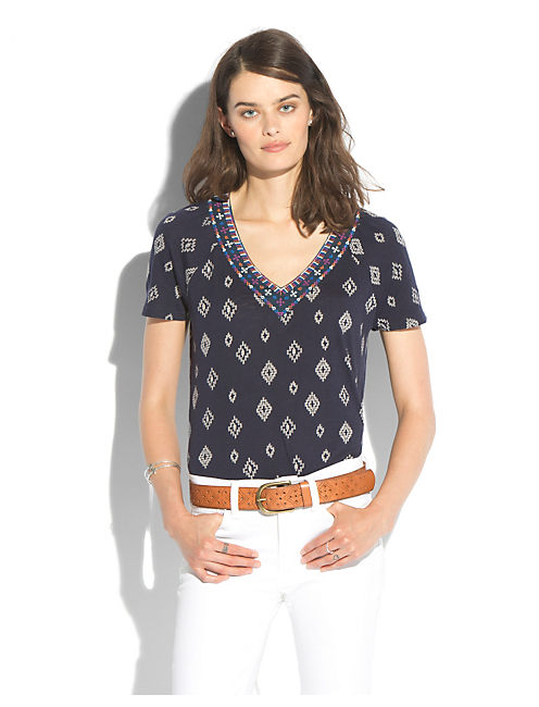 SOIREE TOP, BLUE MULTI