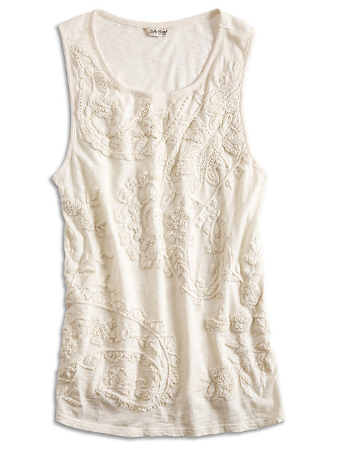 EMBROIDERED PAISLEY TANK, LUCKY WHITE
