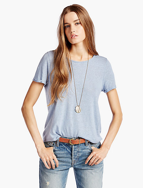 LINEN HEATHER TEE, LIGHT BLUE SHIRT