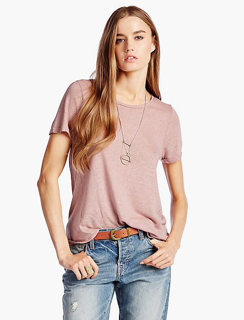 LINEN HEATHER TEE, FALL MUAVE