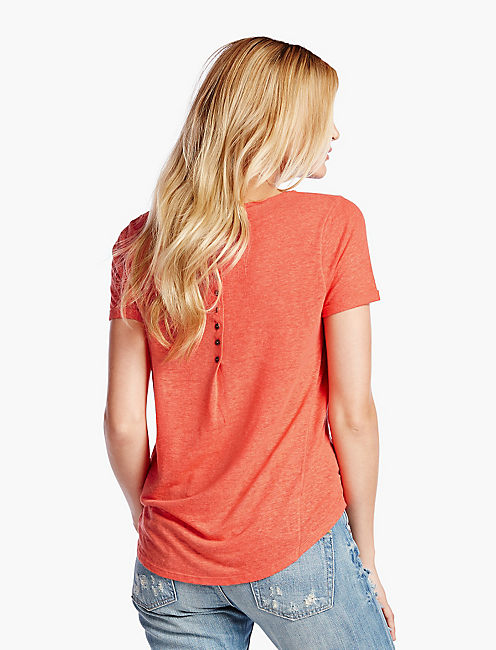 LINEN HEATHER TEE, #8371 GRENADINE