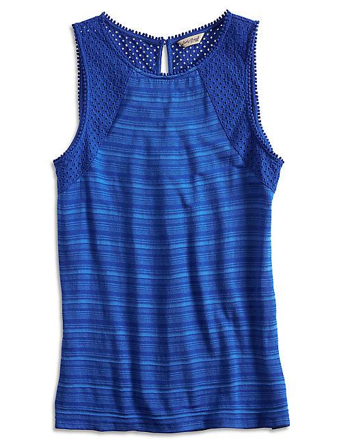 LACE YOKE TOP, VIBRANT BLUE