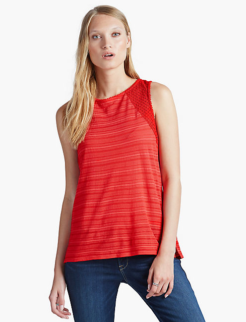 LACE YOKE TOP, RED