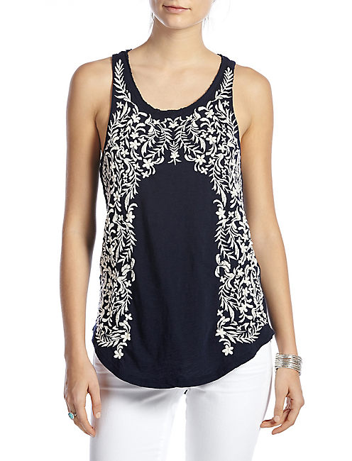 FLORAL EMBROIDERED TANK, AMERICAN NAVY