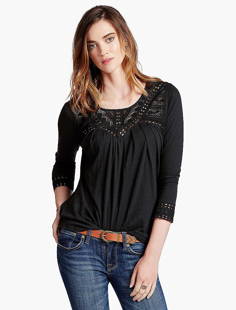 Lucky Brand Chevron Lace Top $59.50 AT vintagedancer.com