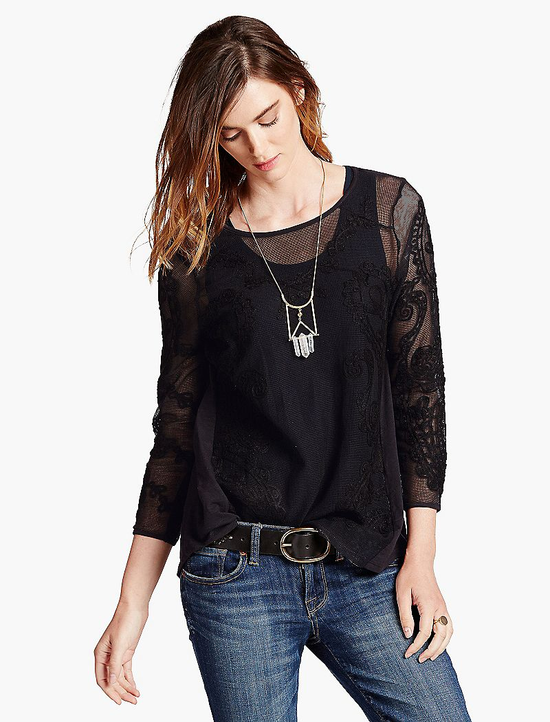 Lucky Brand Embroidered Mesh Top $59.50 AT vintagedancer.com