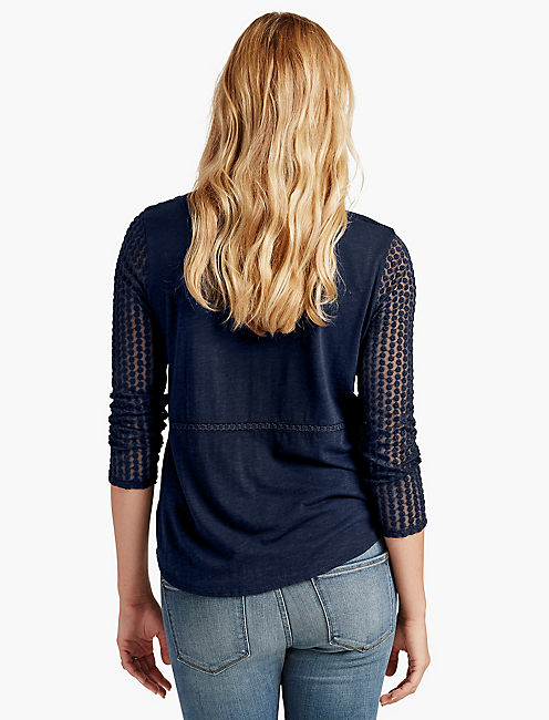LACE PEASANT TOP, AMERICAN NAVY