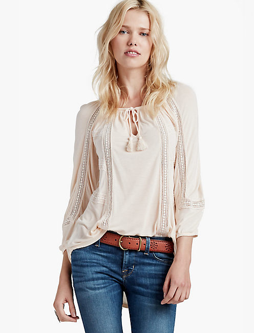 LACE MIXED PEASANT TOP,