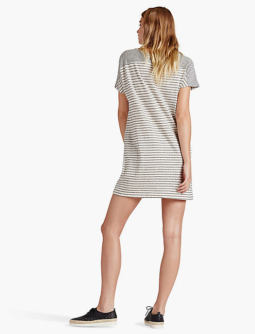 STRIPED TEE SHIRT DRESS, NAVY/OATMEAL